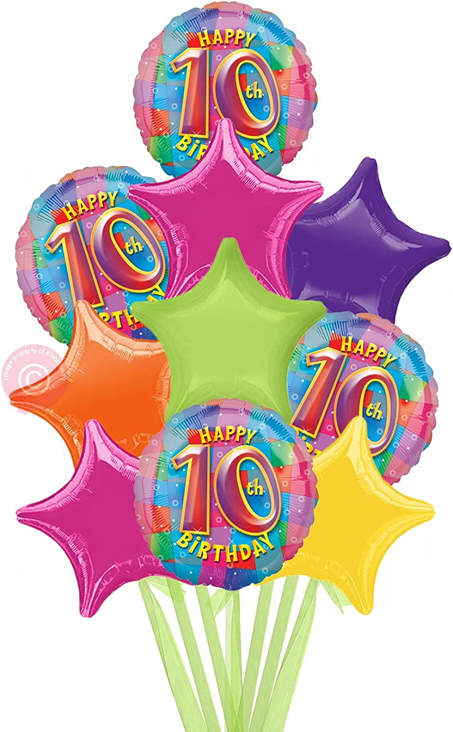 Num 10 Happy Birthday Girl  Inflated Birthday Helium Balloon Delivered in a Box  Biggest Bouquet  10 Balloons  Bloonaway