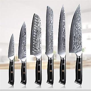 Couteau 6pcs Cuisine Outils de cuisson Ensemble d'utilité Couteau à pain Chef Cleaver Chef Japonais Damas Couteaux en acie...