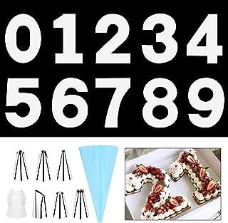 SelfTek Moules à gâteau en forme de chiffre de 0 à 9 - 25,4 cm - Pochoirs avec 6 embouts de glaçage et poches à pâtisserie...