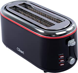 Clikon - 4 Slice Bread Toaster, Cool Touch Body with Stainless Steel Top, Adjustable Toast Setting, Width & Self Center Gu...