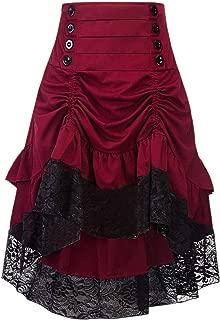 Alivila.Y Fashion - Falda gótica Steampunk asimétrica Alta y Baja