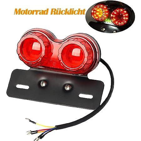 4in1 40 Led Motorrad Rücklicht E11 Geprüft Bremslicht Nummernschild Heckleuchte Leuchten Blinker Universal Auto