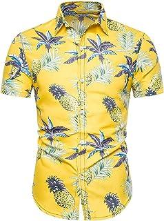 ebb93bc9d3eb1 Dihope, Chemise Hawaïenne Imprimé Homme Été Chemisette Top à Manches  Courtes Slim Fit Tee-