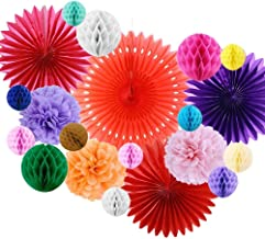 SUNBEAUTY Paper Honeycomb Ball Pom Poms Flowers Paper Rosace Fan Room Wedding Anniversary Birthday Party Backdrop Decoration 20 Pieces (Multi Color)