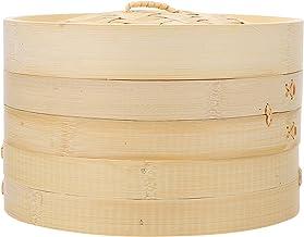 HEMOTON 3 peças, 2 níveis, cozinha, vaporizador, cesto de bambu com tampa e forros para cozinhar na Ásia, bolinhos, legume...