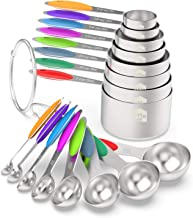 Measuring Cups & Spoons Set of 16 - Wildone Premium Stainless Steel Measuring Cups and Measuring Spoons with Colored Silic...