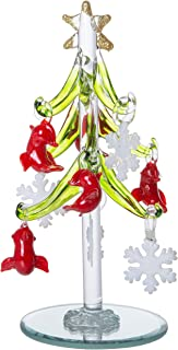 Mini Glass Christmas Tree, Small Table Top Holiday Season Décor with Removable Sphere Ornaments, White Snowflake & Red Cardinal, 6 Inches