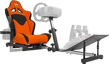 OpenWheeler GEN3 Racing Wheel Stand Cockpit Orange on Black | Fits All Logitech G923 | G29 | G920 | Thrustmaster | Fanatec...