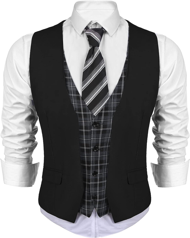 Max 74% OFF Max 59% OFF COOFANDY Men's Business Suit Vest Dress Layered Plaid Waist