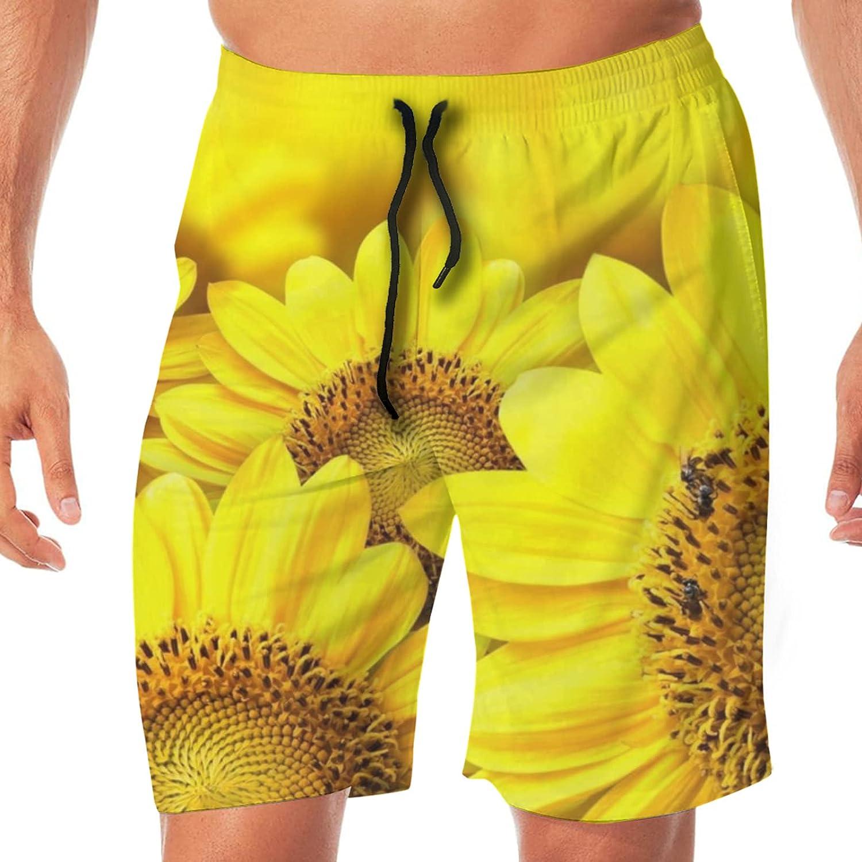 BUERYUZ Popular overseas Youth Beach Pants Men Sunflowers Positive Full Fashion of Yellow