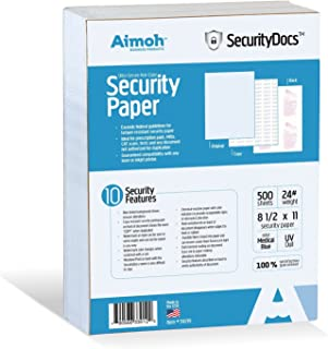 SecurityDocs ULTRA Security Paper - 10 Security Features, Suitable for Prescriptions Pads and All Business Needs, tamper-resistant, COPY Pantograph, 8.5 x 11-24 LB, Medical Blue, 500 Sheets (59219)