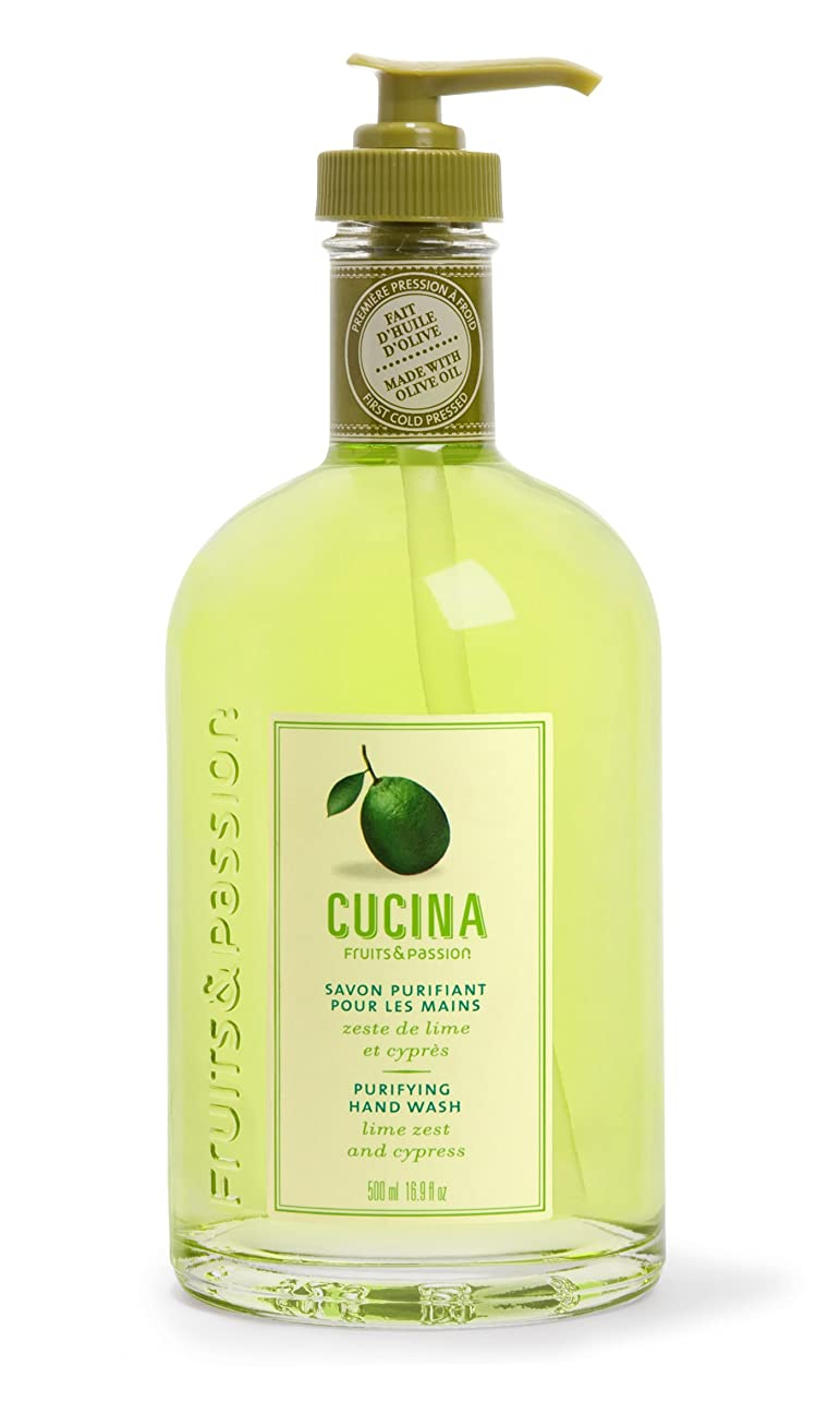 廃止忠実な旅行者Cucina Purifying Hand Soap, Glass Dispenser Lime Zest 16.9 oz. by Cucina
