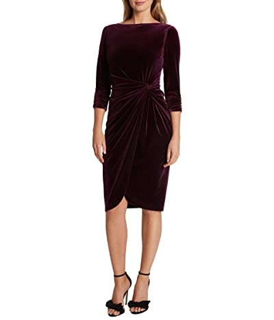 Tahari by ASL Velvet Mock Neck Wrap Dress (Plum) Women