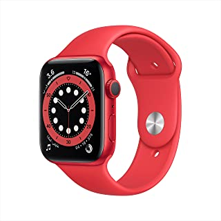 ساعة ابل من السلسلة 6 (نظام تحديد المواقع، 44 ملم) بهيكل احمر من الالمنيوم وسوار رياضي - احمر (منتج)