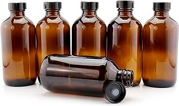 8-Ounce Amber Glass Bottles (6-Pack); Boston Round Bottles w/Polycone Phenolic Caps