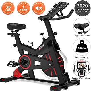 TRYA Stationary Bikes, Exercise Bike, Belt Drive Indoor Cycling Bike with Ipad Mount, 35 LBS Flywheel Workout Bike for Home Indoor Riding Gym, with LCD Monitor & Comfortable Seat Cushion