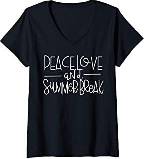 Womens Peace Love And Summer Break -Teacher Shirt - Summer Vacation V-Neck T-Shirt