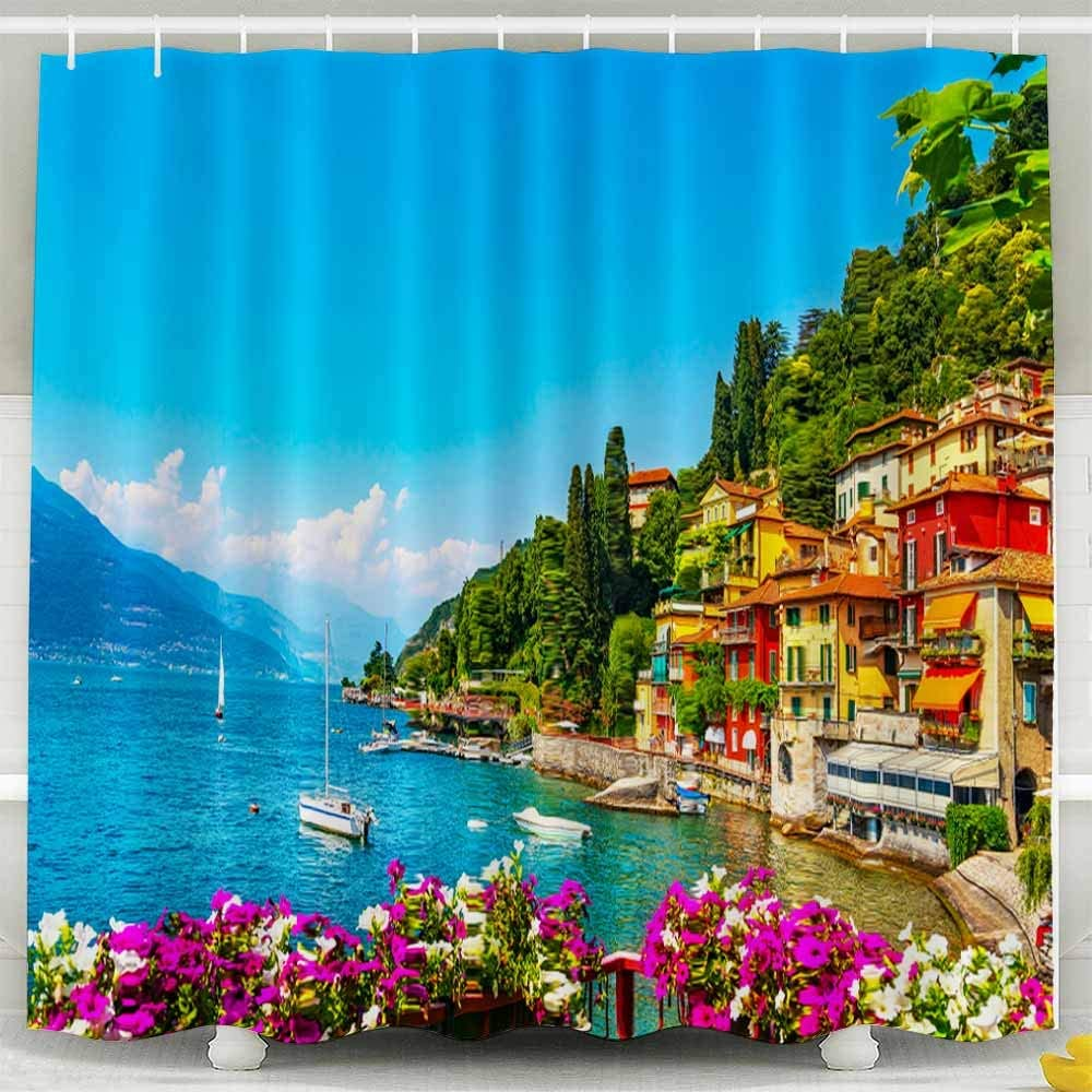 Herysta Colorful Shower Curtain Waterproof Non Toxic Room Large Shower Curtain Town In Lake Italian Traditional Village Italy Europe Como Bathroom Shower Curtain 72x72 Inches Home Kitchen