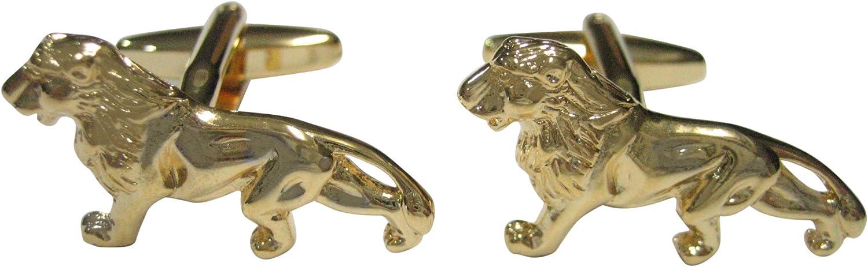 Kiola Designs Gold Toned Shiny Textured Lion Cufflinks