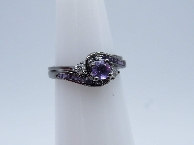 Dazzlingrock Collection Black Rhodium Plated 10K Round Diamond & Amethyst Ladies Swirl Bridal Engagement Ring Set, White Gold