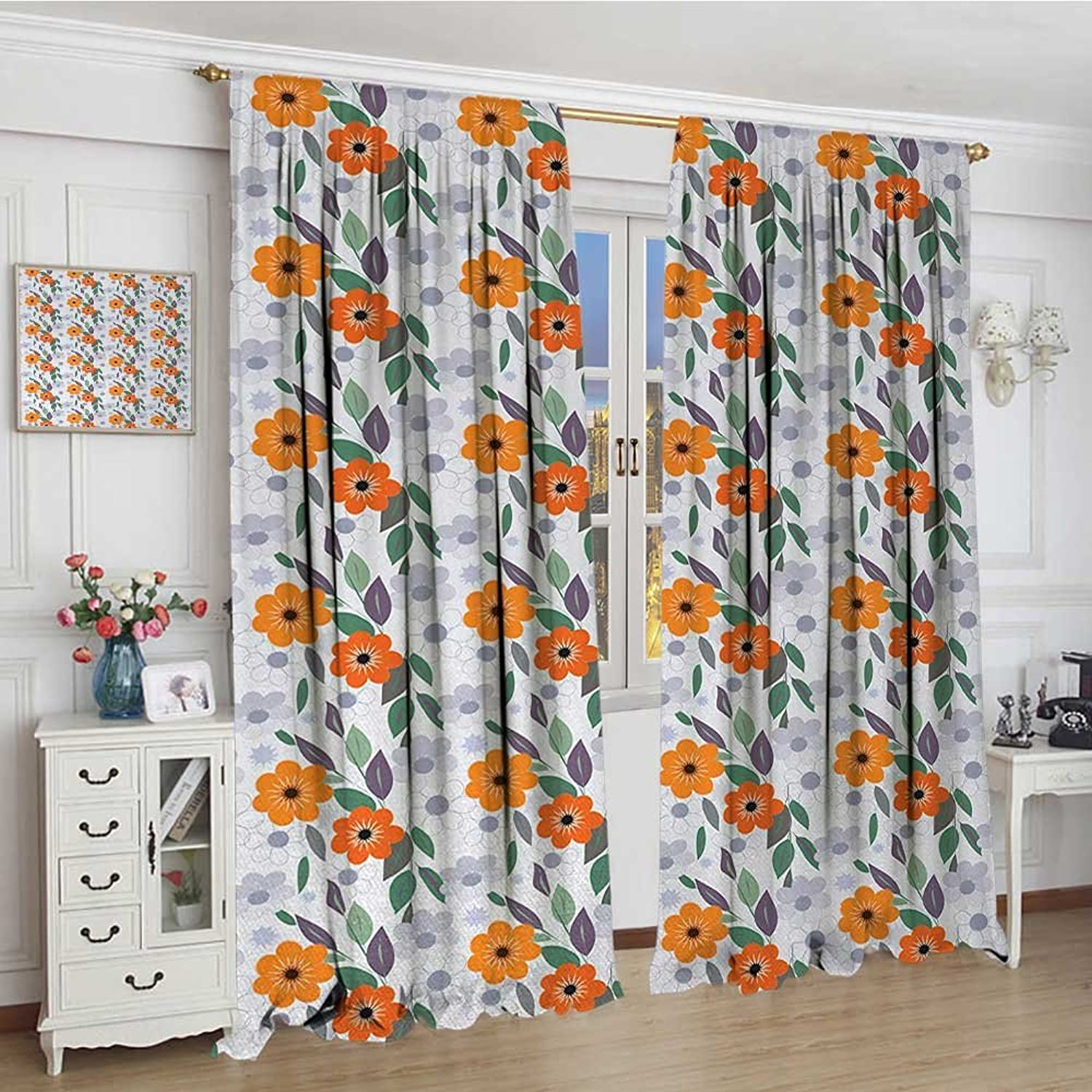 Smallbeefly Floral Blackout Window Curtain Pastel colord Spring Blossom Field Essence Nostalgic Feminine Mother Nature Petals Patterned Drape Glass Door 96 x72  Multicolor