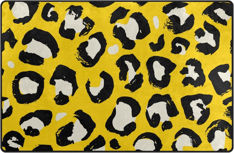 U Life Vintage Wild Animal Leopard Striped Texture Large Doormats Area Rug Runner Floor Mat Carpet Entrance Way Living Room Bedroom Kitchen Office 80 x 58 inch
