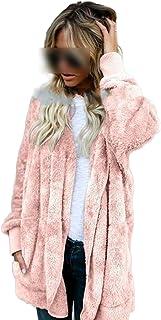 Abrigo de invierno para mujer de piel de piel con lados largos, abrigo de peluche