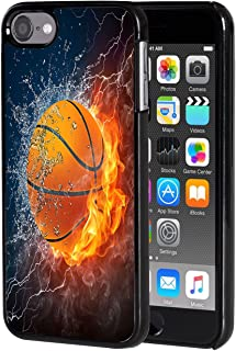 iPod Touch 6 case,AIRWEE Slim Back Cover Hard Plastic Protector Case Stylish Design for Apple iPod Touch 6th Generation - Fire and Ice Basketball