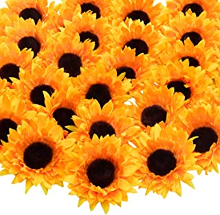 Artificial Sunflower Heads 3.54 Inch Silk Yellow Sunflower Faux Sunflowers for Wedding Fall Autumn Table Home Wreath Party Floral Wreath Festival Decoration (Sunflower Heads, 24 Pcs)