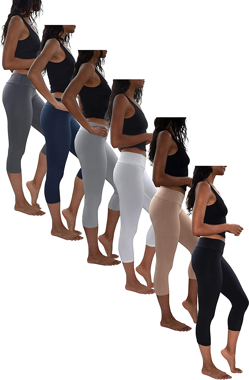 Womens 3 Pack & 6 Pack Buttery Soft Brushed Active Stretch Yoga Cropped Capri Skinny Pant Leggings