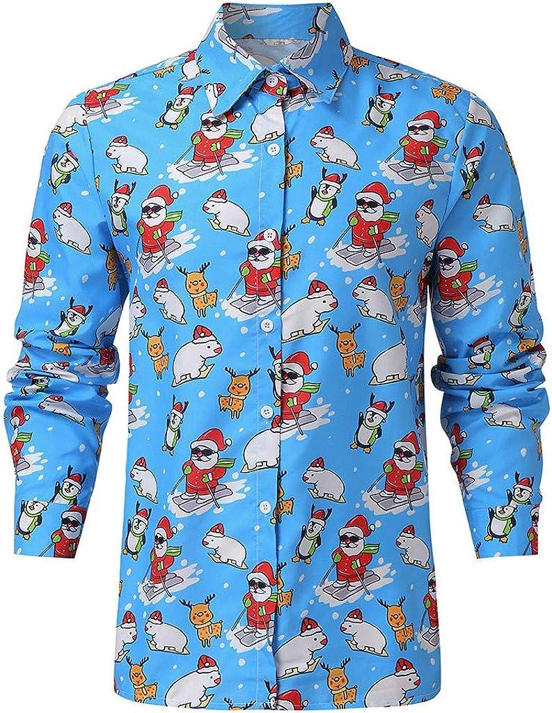 Bravetoshop Mens Casual Button Down Long Sleeve Christmas Dress Shirt
