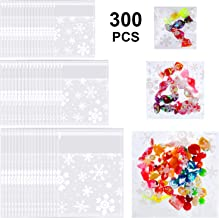 300 Pieces Christmas Cellophane Treat Bags Self-adhesive Cookie Bags Clear Snowflake Biscuit Bags for Homemade Snacks Desserts Crafts wrapping, 3 Sizes
