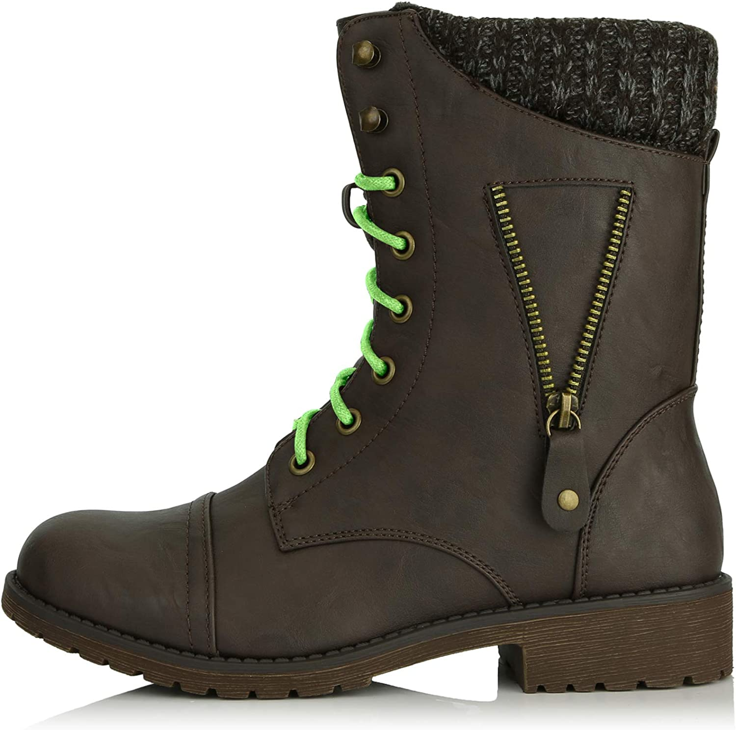 DailyShoes Women's Military Lace Up Buckle Combat Boots Zipper Sweater Ankle High Exclusive Credit Card Pocket, Lime Green