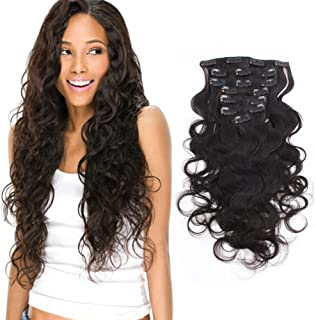 AmazingBeauty Clip In Extensions For Black Women 8A Grade Natural Color Thick 100% Virgin Hair 10-22inch 7 Pieces with 18 Clips 120g/4.2oz per Set For Full Head Body Wave 22 inch