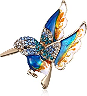 Antique Gold Tone Enamel Bird Hummingbird Multi Color Austrian Crystal Pin Brooch Jewelry for Women
