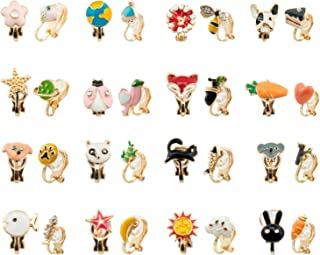 SOTOGO 16 Pairs Clip On Earrings Multiple Fruits Animals Earrings for Little Girls and Women