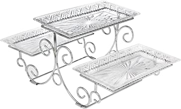 Godinger Silver Art Dublin 3 Tiered Glass Buffet Serving Tray - Chrome Plated Platter Stand with Starburst Design - Party and Event Dessert and Food Display Server