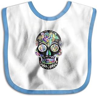 UBCATDESA Flower Skull Head Baby Bibs, Unisex Baby Soft Cotton Easily Clean Teething Bibs(Blue&Pink)