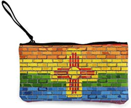 Billetera, Monederos, Brick Wall New Mexico and Gay Flags Canvas Coin Purse Cute Pouch Change Purse 4.5 X 8.5 Inch with Zipper Cash Bag Small Wallet Card Key Case for Women,Coin Purse