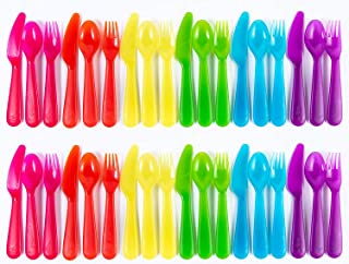 Cuddly Hippo Kids Plastic Dinnerware Set of 36 Multi Color Flatware (Spoons, Forks and Knives) - Reusable, BPA-Free, Dishw...