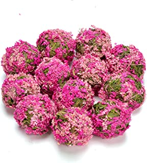 Byher Decrative Ball with Flowers for Bookshelf, Table, Tree, Party, House Decoration (Pink - 3.5