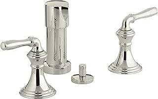 KOHLER K-412-4-SN Devonshire Vertical Spray Bidet Faucet with Lever Handles, Vibrant Polished Nickel