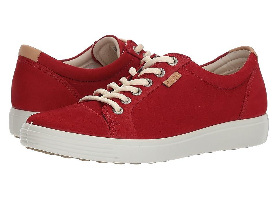 ECCO Soft 7 Sneaker (Chili Red Cow Nubuck) Women