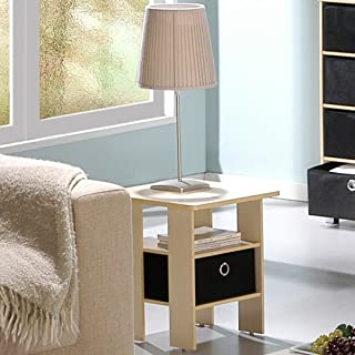 Furinno End Table Bedroom Night Stand w/Bin Drawer, Steam Beech/Black