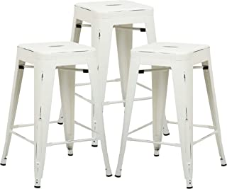 Poly and Bark Trattoria 24' Industrial Metal Counter Bar Stool, Distressed White (Set of 3)