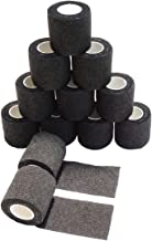 Needlehouse Tattoo bandage 12pcs 2 Inches x 5 Yards Disposable Cohesive Tattoo Grip Cover Wrap Nonwovens Elastic Movement Self-adhesive (12 Rolls, 2-Inches Black)
