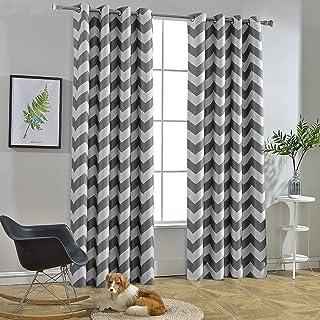 Melodieux Chevron Blackout Grommet Top Curtains 52x96 Inch Grey CVR5296GR