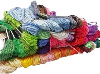 Haobase Stickgarn, 100 % Baumwolle, 50 x verschiedenfarbige Garnknäuel