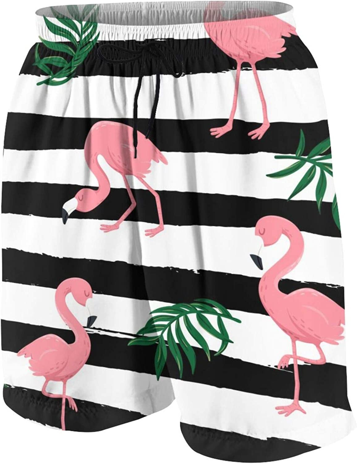 Pink Flamingo Birds and Tropical Leaves Boys Swim Trunks Quick Dry Beach Board Swim Shorts Swimsuit Swimwear from 7T to 18