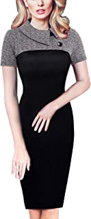 HOMEYEE Damen Vintage Langarm Elegant Kleid Business Party Cocktailkleid Knielanges Abendkleid B238